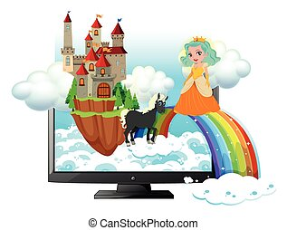 Computer screen with princess and castle illustration