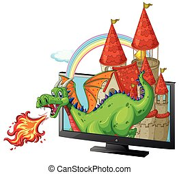 Castle and dragon on the screen illustration