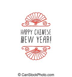 Chinese New Year hand drawn greeting card. Poster template...