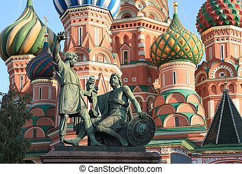 blessed basil cathedral and Statue of Minin and Pozharsky in...
