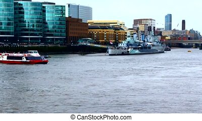 London, River Thames, boats, warship HMS Belfast