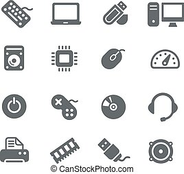 Computer components Icons - Vector icons for your digital or...