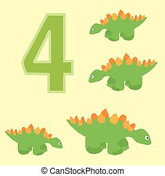 Number 4 Four dinosaur Stegosaurus - A poster for primary...