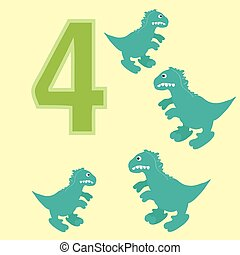 Number 4 Four dinosaur Tyrannosaurus - A poster for primary...