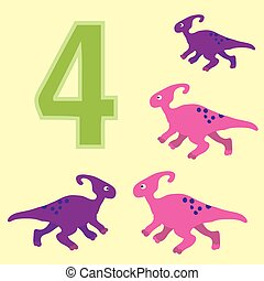 Number 4 Four dinosaur Parasaurolophus - A poster for...