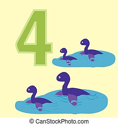Number 4 Four dinosaur Plesiosaurs - A poster for primary...