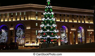 illumination at night in Moscow - Christmas New Year...
