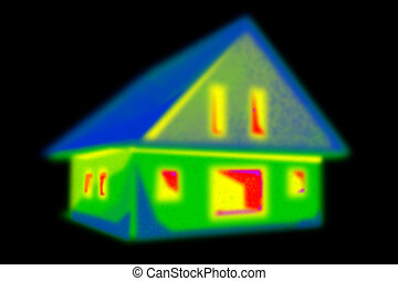 Thermal imaging of a house in a black area