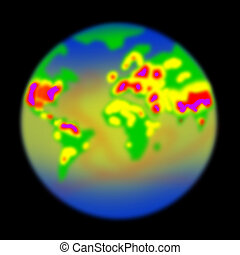 Thermal imaging of the earth in a black area.