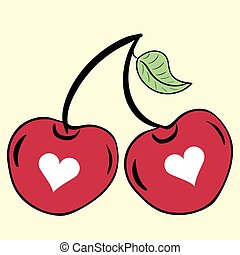 Two cherries with hearts