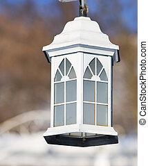on the photo lamp in the snow