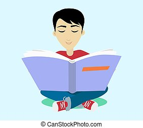 Young Black Haired Man Enjoying Reading Big Book - Young...