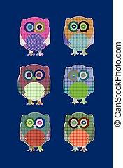 vector textile owls icon set