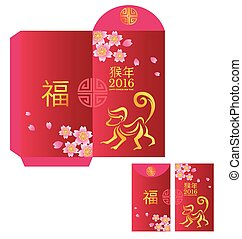 Red packet Chinese wording Translation is fortunate and Year...