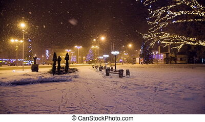 Snow falls in a christmass city - Snow falls in a christmass...