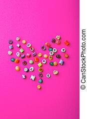 Multicolored, doce, canes., Valentine, Dia,