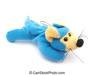 soft toy mouse on a white background