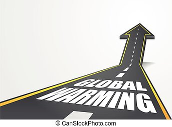 road to Global Warming - detailed illustration of a highway...