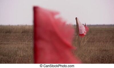 View of pointing flags on runway airfield, close-up