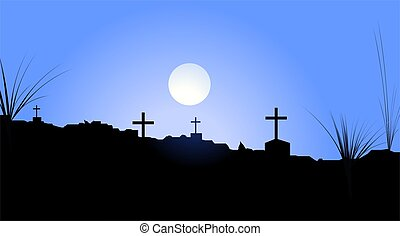 cemetery - Illustration of a cemetery in night