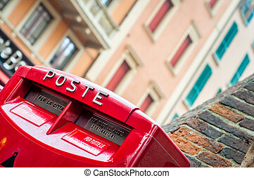 Mailbox Red postal box - Red letter box Italian mail service...