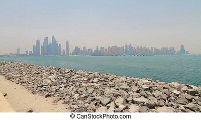 Summer day dubai marina downtown palm panorama - Dubai...