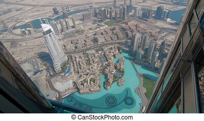 View from Burj Khalifa of downtown Dubai UAE - Aerial view...