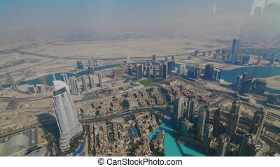 View from Burj Khalifa of downtown - Aerial view Burj...