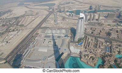 Aerial view from Burj Khalifa of downtown Dubai - Aerial...