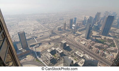 View from Burj Khalifa of downtown Dubai - Aerial view Burj...