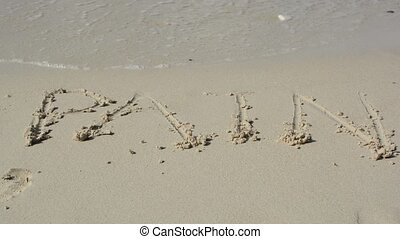 Water removes word written on the sand.