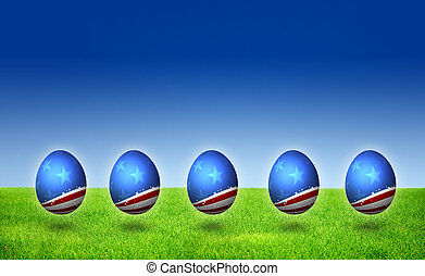 USA flag pattern Easter Eggs on grass field with blue sky