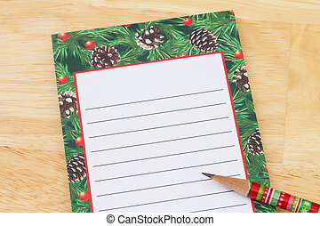 Christmas Wish List, Christmas Wish List with pencil and...