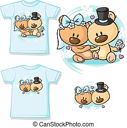 Bears in wedding dress sitting - shirt vector design