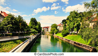 Ljubljana -Slovenia - city centre, view on the river