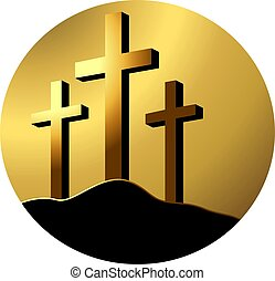cross - Illustration of a cross in brown colour background...