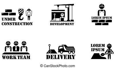 concept building icons - set of black isolated concept...