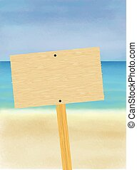 Blank Wooden Sign On The Beach