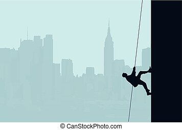 Businessman Scaling Skyscraper - An illustration of a...