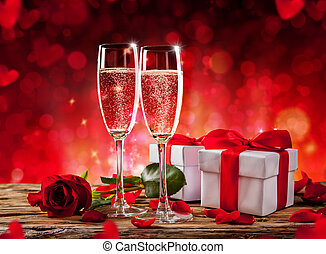Valentines still life with champagne and roses - Valentines...