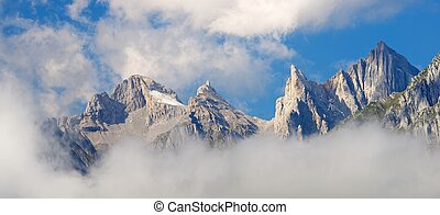 Pyrenees - Peaks in Lescun Cirque. On the right Ansabere...