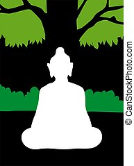 Buddha	 - Illustration of silhouette of Lord Buddha
