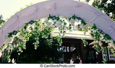 Wedding White Archway with Flowers