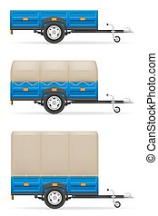 set icons car trailer for the transportation of goods vector...