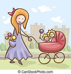 young woman with a baby carriage