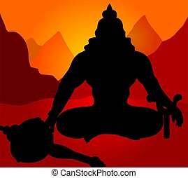 Hanuman - Illustration of silhouette of Lord Hanuman