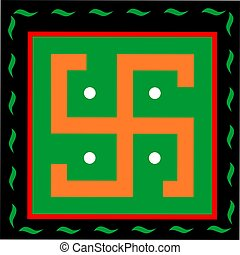 Religion - Illustration of Swastika symbol in decoration