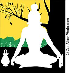 Yogi - Illustration of a yogi is meditating
