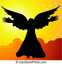 Angel - Illustration of a cupid flying in sky