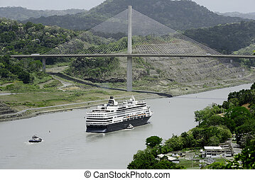 Panamas Centennial Bridge, Panama - Large cruise ship...